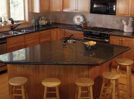Coffee Brown Granite Countertop with Full Bullnose Edge Profile